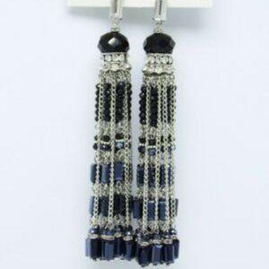 Anthropologie Glass Crystal Tassel Earrings